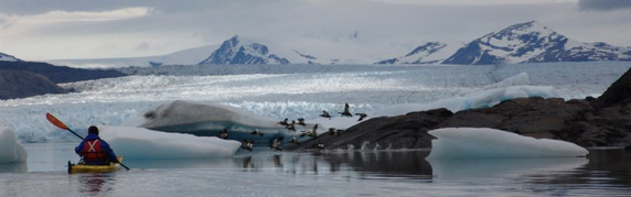 sea kayak close the glaciar