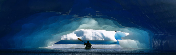 Sea kayaking and iceberg